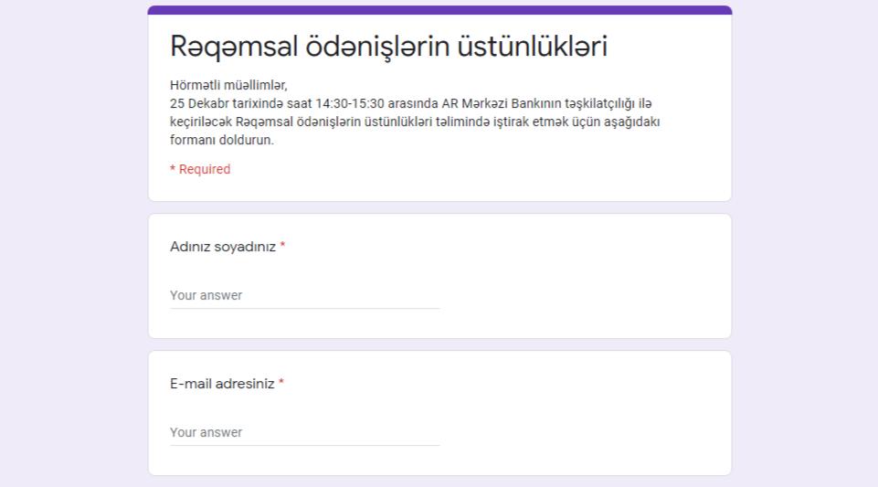 """""""Rəqəmsal ödənişlərin üstünlükləri"""" mövzusunda təlim keçiriləcək"""