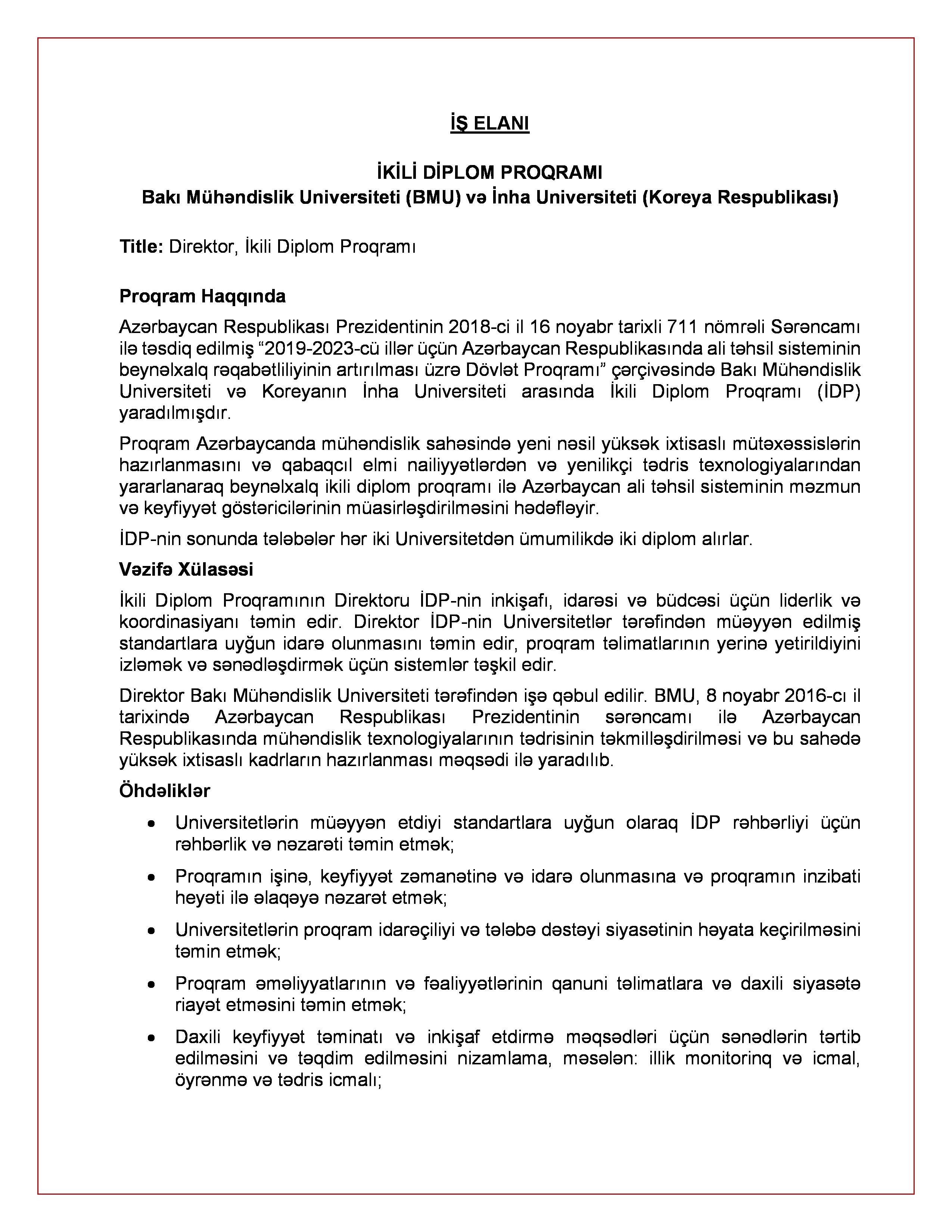 BMU-da ikili diplom proqramına vakansiya elan edilib