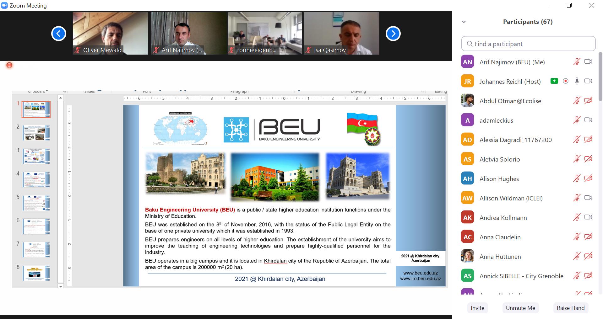 """BMU """"CAMPAIGNers"""" HORİZON 2020 layihəsinin ilk toplantısında təmsil olunub"""