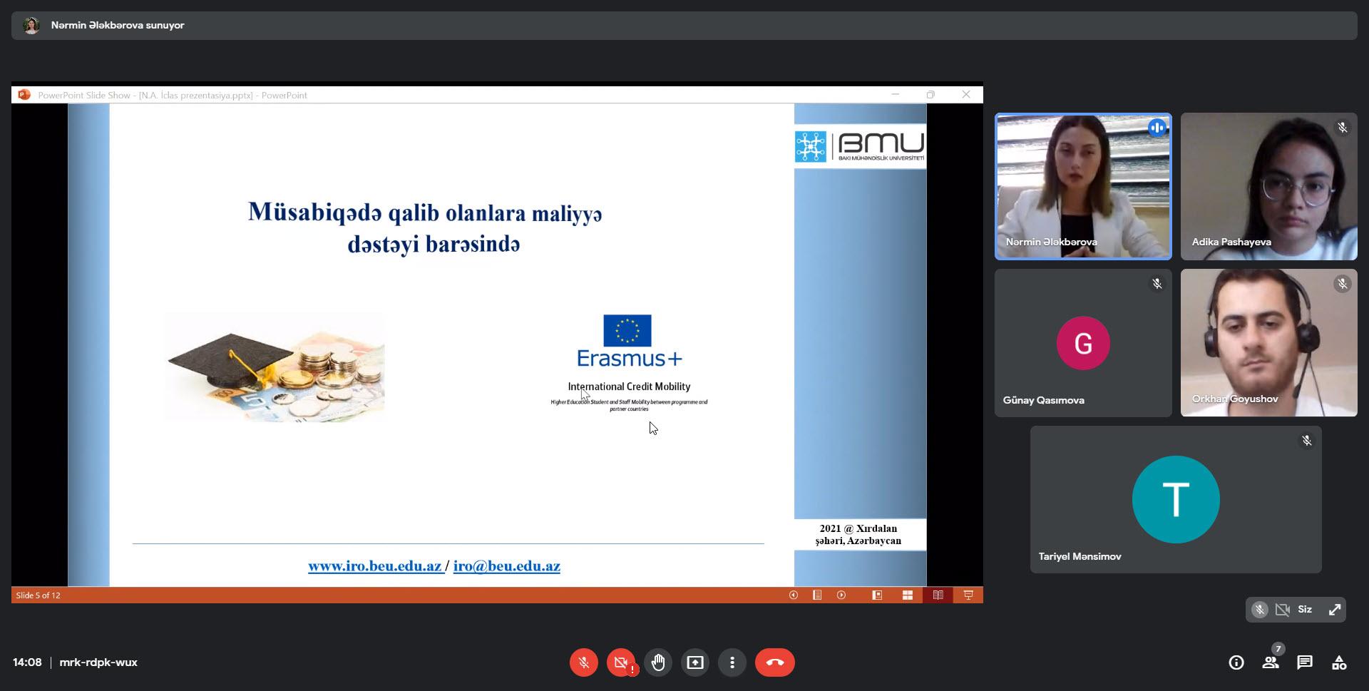 BMU-da Erasmus+ KA1 mübadilə proqramı barədə məlumat sessiyası keçirilib