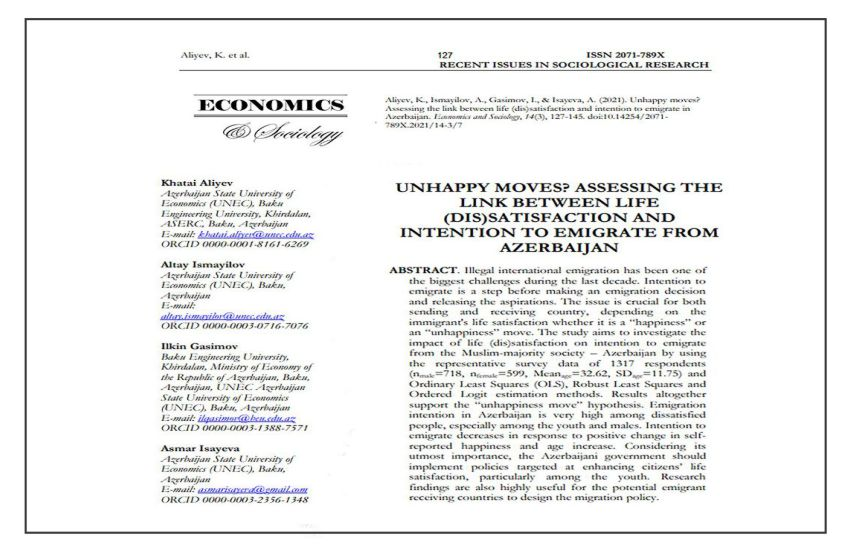 Article by BEU employees published in international journal