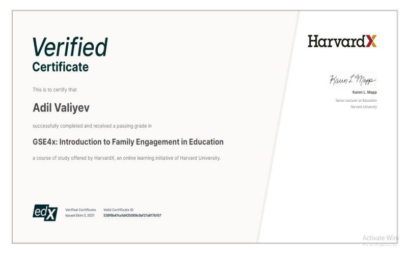 BMU-nun əməkdaşı Harvard Universitetinin sertifikatına layiq görülüb