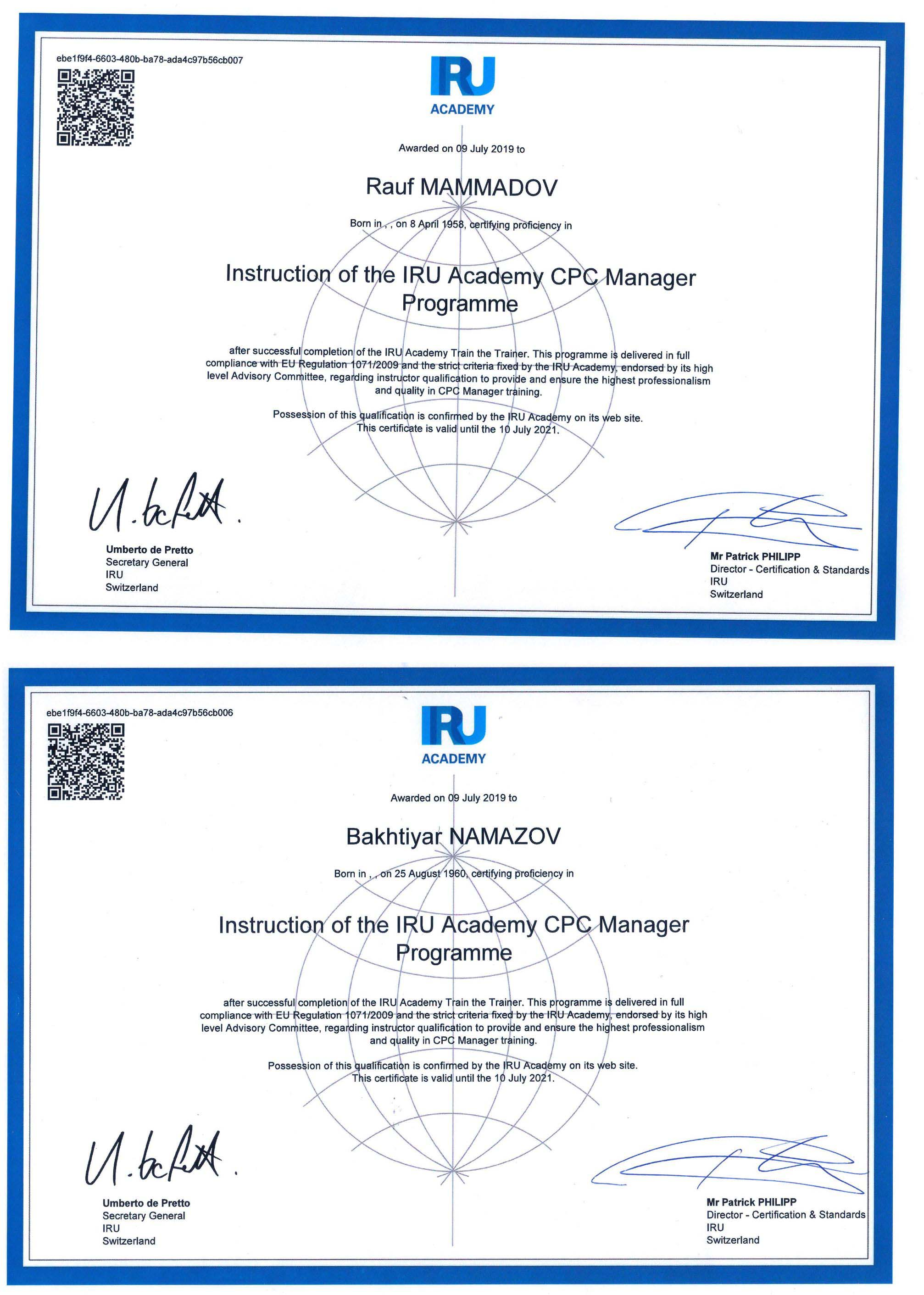 BMU əməkdaşları beynəlxalq sertifikata layiq görülüb